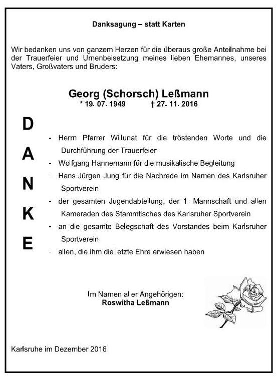 Danksagung - Trauerfeier Georg Lessmann